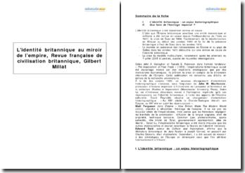 L'identité britannique au miroir de l'Empire, Revue française de civilisation britannique, Gilbert Millat
