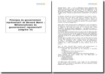 Principes du gouvernement représentatif de Bernard Manin : Métamorphoses du gouvernement représentatif (chapitre VI)