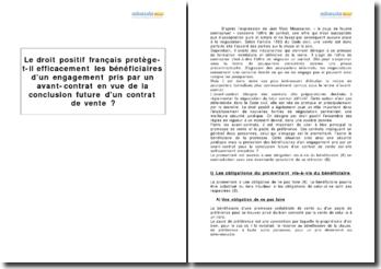Le droit positif français protège-t-il efficacement les bénéficiaires d'un engagement pris par un avant-contrat en vue de la conclusion future d'un contrat de vente ?