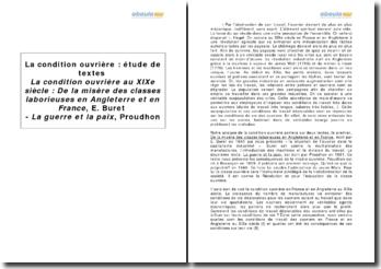 La condition ouvrière au XIXe siècle : De la misère des classes laborieuses en Angleterre et en France d'E. Buret et La guerre et la paix de Proudhon