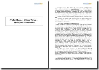 Les Châtiments, Victor Hugo - étude du poème Ultima verba
