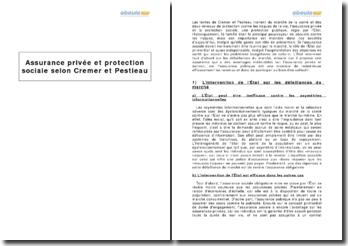 Assurance privée et protection sociale selon Helmuth Cremer et Pierre Pestieau