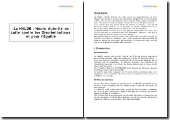 La HALDE : Haute Autorité de Lutte contre les Discriminations et pour l'Egalité