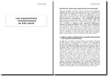 Les organisations internationales au XXe siècle