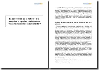 La conception de la nation « à la française » : quelles réalités dans l'histoire du droit de la nationalité ?