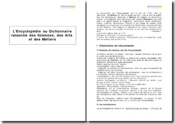 L'Encyclopédie ou Dictionnaire raisonné des Sciences, des Arts et des Métiers