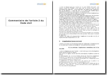 Article 2 du Code civil - l'application des lois dans le temps