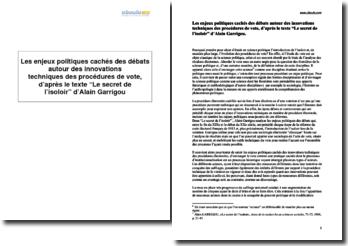 Les enjeux politiques cachés des débats autour des innovations techniques des procédures de vote, d'après le texte Le secret de l'isoloir d'Alain Garrigou