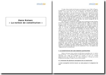 Hans Kelsen, La notion de constitution