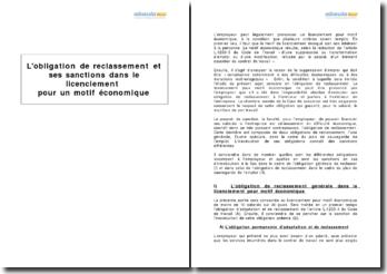 L'obligation de reclassement et ses sanctions dans le licenciement pour un motif économique