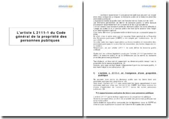L'article L 2111-1 du Code général de la propriété des personnes publiques - la définition du domaine public