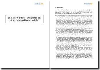 La notion d'acte unilatéral en droit international public