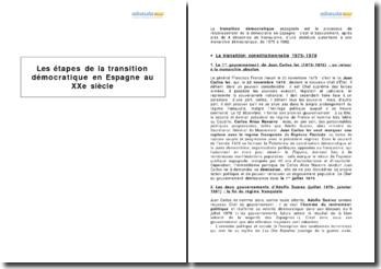 Les étapes de la transition démocratique en Espagne (1975-1982)
