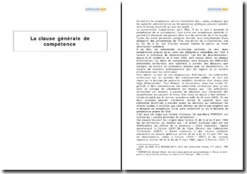 La clause générale de compétence, étendue et limites
