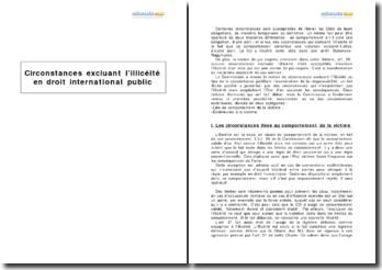 Circonstances excluant l'illicéité en droit international public