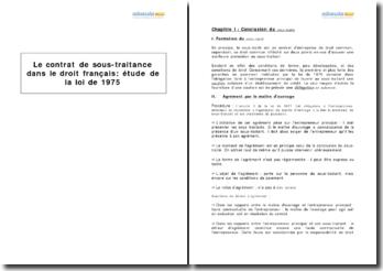Le contrat de sous-traitance dans le droit français : étude de la loi de 1975