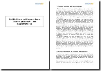 Institutions politiques dans l'Italie primitive : les magistratures