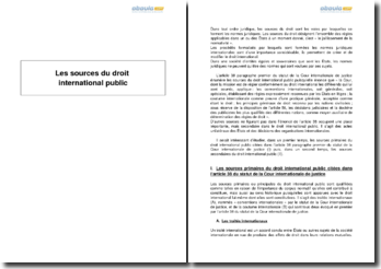 Les sources du droit international public