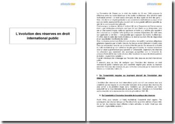 L'évolution des réserves en droit international public