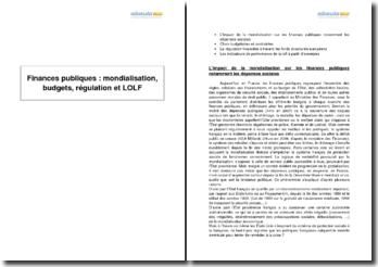 Mondialisation, budgets, régulation et loi organique relative aux lois de finances