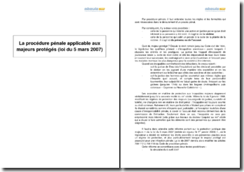 La procédure pénale applicable aux majeurs protégés (loi du 5 mars 2007)