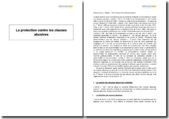 La protection contre les clauses abusives (2010)