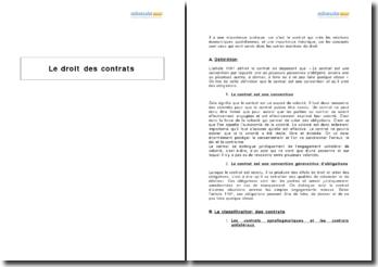 Le droit des contrats - typologie et évolution