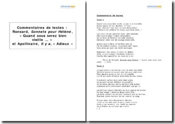 Etude comparée de deux poèmes - Quand sous serez bien vieille ... de Ronsard et Adieux d'Apollinaire