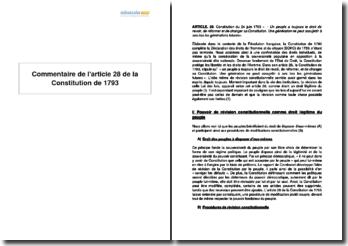 Commentaire de l'article 28 de la Constitution de 1793