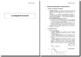 Le duopole de Cournot - présentation et comparaison avec d'autres modèles de duopoles