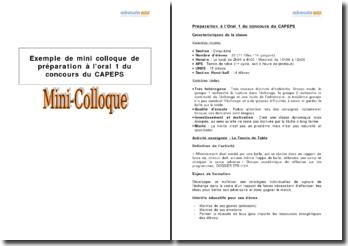 Exemple de mini-colloque de préparation à l'oral 1 du concours du CAPEPS - classe de tennis de table niveau 5e