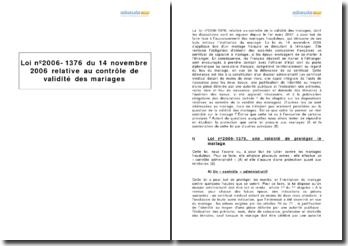 Loi nº2006-1376 du 14 novembre 2006 relative au contrôle de validité des mariages