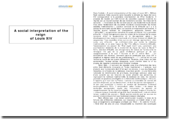 A social interpretation of the reign of Louis XIV, William Beck