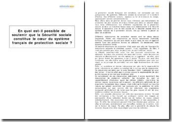 La Sécurité Sociale constitue-t-elle le coeur du système français de protection sociale ?