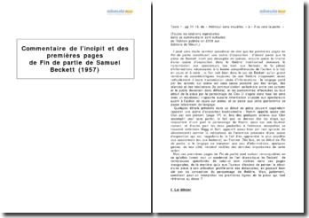 Fin de partie, Samuel Beckett (1957) - étude de l'incipit