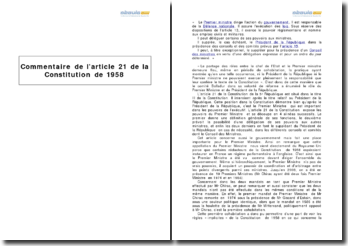 L'article 21 de la Constitution de 1958