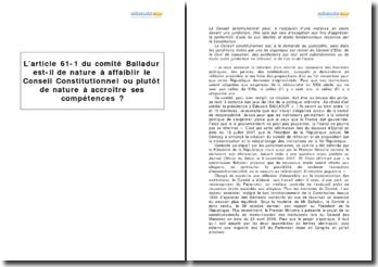 L'article 61-1 du comité Balladur et le Conseil constitutionnel