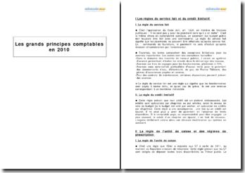 Les grands principes comptables en 2010
