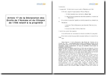 Déclaration des Droits de l'Homme et du Citoyen de 1789, article XVII - la propriété