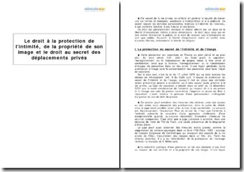 Le droit à la protection de l'intimité, de la propriété de son image et le droit au secret des déplacements privés