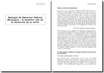 Apologie de Raymond Sebond, Montaigne - le bénéfice réel de la recherche de la vérité