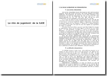 Le rôle de jugement de la Cour de justice des communautés européennes
