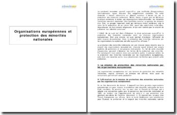 Organisations européennes et protection des minorités nationales
