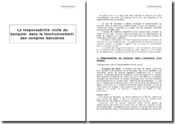 La responsabilité civile du banquier dans le fonctionnement des comptes bancaires