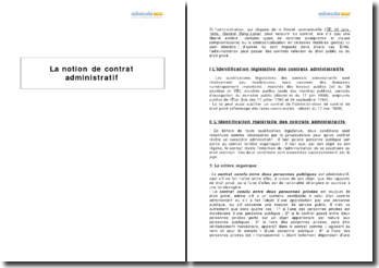 La notion de contrat administratif