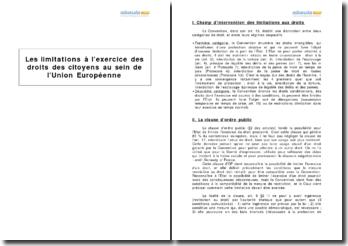 Les limitations à l'exercice des droits des citoyens au sein de l'Union européenne