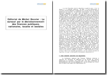 Le sursaut par le décloisonnement des finances publiques, nationales, locales et sociales, Michel Bouvier