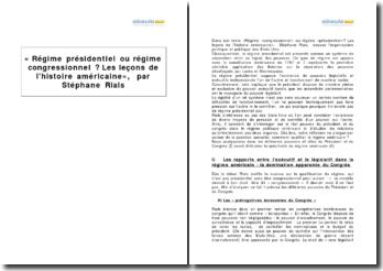 Régime congressionnel ou régime présidentiel ? Les leçons de l'histoire américaine, Stéphane Rials