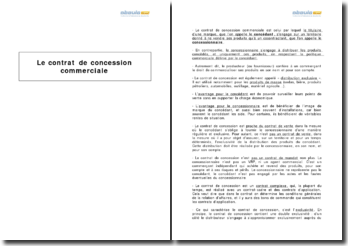 Le contrat de concession commerciale