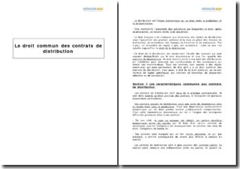 Le droit commun des contrats de distribution